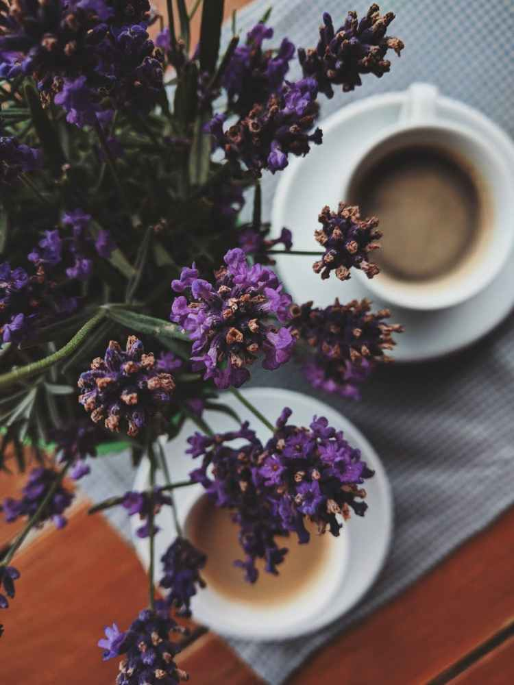 purple flowers two full coffee cups on a mat on a brown table