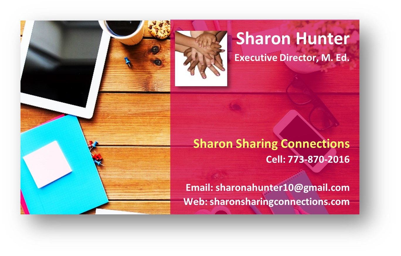Sharon Hunter E Business Card on image of computer coffee cup note pad cellphone stacked hands logo contact details for Sharon Hunter